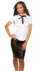 Sexy KouCla short sleeve blouse White
