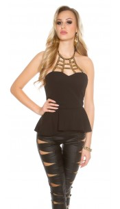 Sexy KouCla Neck-Top with ornament Black
