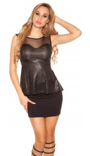 Trendy top with peplum and sexy insight Black