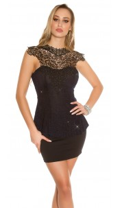 Sexy top with lace and peplum Navy
