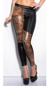 Sexy Wetlook leggings with leoprint Blackleo