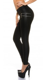 Sexy Treggings with zip and leather look Black