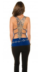 Sexy KouCla party top with golden embordery Blue