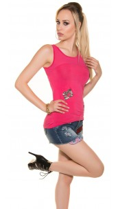 Sexy Tank Top with Patches transparent Fuchsia