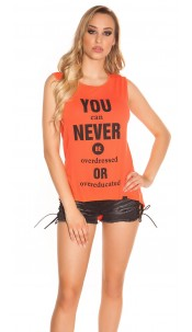 "Sexy KouCla High Low Shirt ""You can Never Be..."" Coral"