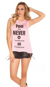 "Sexy KouCla High Low Shirt ""You can Never Be..."" Pink"