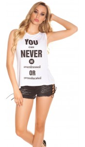 "Sexy KouCla High Low Shirt ""You can Never Be..."" White"