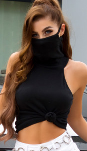 Trendy turtle neck top with integrated mask Black