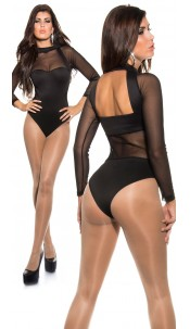 Sexy KouCla backless body with mesh panels Black