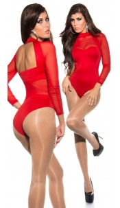 Sexy KouCla backless body with mesh panels Red