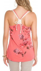 Sexy loosefit straps top floral print Coral