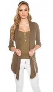 Trendy basic cardigan with variable sleeve length Khaki