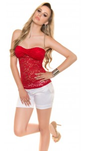 Sexy KOUCLA bandeau top with lace Red