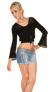 Sexy long sleeve crop blouse BoHo Style Black