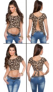 Sexy KouCla 2Way Crop Top Leo
