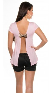 Sexy KouCla shirt with bow and Sexy back Pink