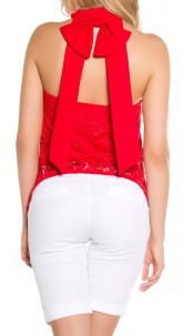 Sexy Neck Top 2 layer with bow Red