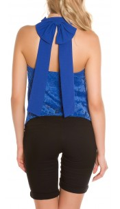 Sexy Neck Top 2 layer with bow Royalblue