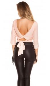 Trendy KouCla crop blouse backless Apricot