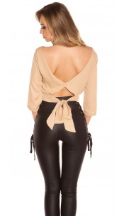 Trendy KouCla crop blouse backless Cappuccino