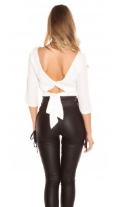 Trendy KouCla crop blouse backless White