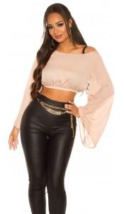 Sexy KouCla Chiffon Latina Crop Top bat sleeves Beige