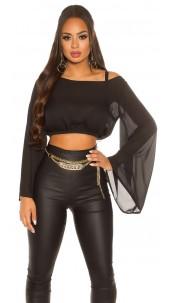 Sexy KouCla Chiffon Latina Crop Top bat sleeves Black