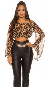 Sexy KouCla Chiffon Latina Crop Top bat sleeves Leo