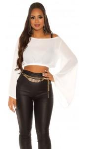 Sexy KouCla Chiffon Latina Crop Top bat sleeves White