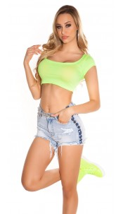 Sexy KouCla Crop Shirt Neonyellow