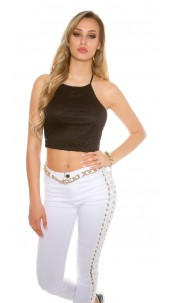 Sexy Crop-Top with crochet pattern Black