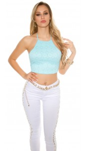 Sexy Crop-Top with crochet pattern Turquoise