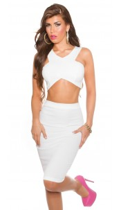 Sexy KouCla Crop Top with Zipp in the back White