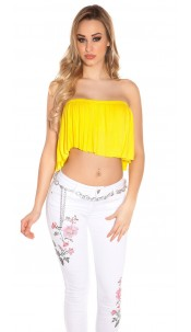 Sexy KouCla Bandeau Croptop with Volant Yellow