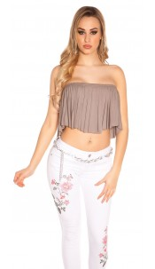 Sexy KouCla Bandeau Croptop with Volant Cappuccino