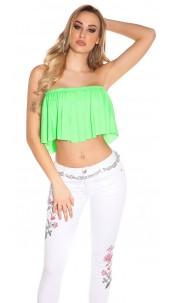 Sexy KouCla Bandeau Croptop with Volant Neongreen