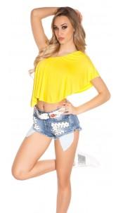 Sexy KouCla One Shoulder Crop Top Yellow