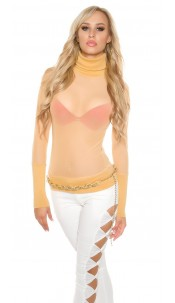 Sexy KouCla mesh turtleneck shirt Kim K. Look Champagne