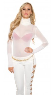 Sexy KouCla mesh turtleneck shirt Kim K. Look Cream