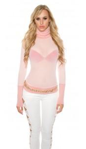 Sexy KouCla mesh turtleneck shirt Kim K. Look Pink