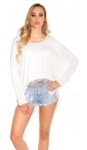 Trendy KouCla HighLow Oversize Crop Shirt Cream
