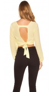 Sexy Crop longsleeve blouse sexy back Yellow