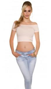 Sexy KouCla Crop shirt with sexy back Salmon