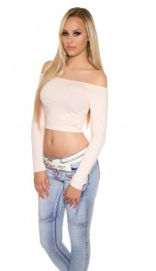 Sexy KouCla long sleeve Crop Top with sexy back Apricot