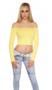 Sexy KouCla long sleeve Crop Top with sexy back Yellow