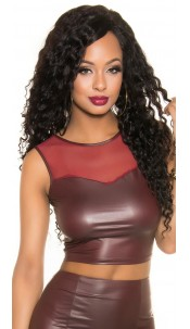 Sexy KouCla Wetlook Tank Crop Top with mesh Bordeaux