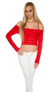 Sexy KouCla Crop Sleeved Shirt Carmen Neck Red