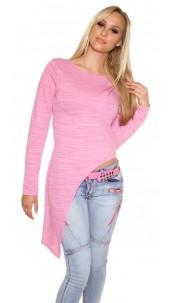 Trendy KouCla Shirt asymmetrically Fuchsia