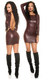 Sexy KouCla Neckholder Wetlook Mini dress Bordeaux