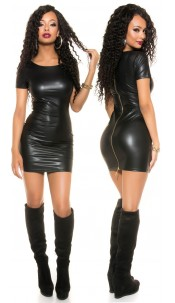Sexy KouCla Wetlook Mini dress with 2Way Zip Black
